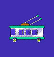 flat shading style icon trolleybus silhouette vector image vector image