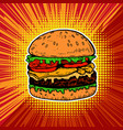 burger on pop art style background vector image