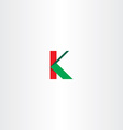 green red letter k sign logotype icon vector image