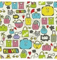 Seamless pattern of cute doodle style bags vector image