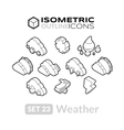 Isometric outline icons set 23 vector image