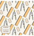 Seamless School or Office Supplies Pattern Thin li vector image