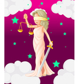 A woman with a weighing scale and a sword vector image
