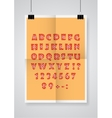 English alphabet Twice a folded orange poster vector image