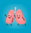 happy fun cute lungs flat cartoon vector image