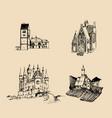 medieval landscapes set hand vector image