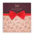 sketch butterflies and red ribbon bow vector image vector image