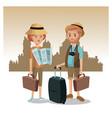 couple tourist map luggage traveler urban vector image