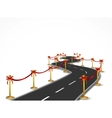Curved road with gold balustrade and red bow vector image vector image
