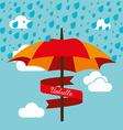 Umbrella design over cloudscape background vector image