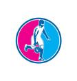 Basketball Player Dribbling Ball Circle Retro vector image vector image