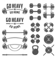 Set of vintage gym equipment design elements