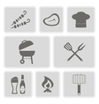 monochrome icons with symbols of barbecue vector image