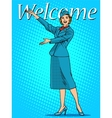 Welcome stewardess travel tourism vector image