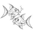 Two drawing cartoon fish vector image vector image