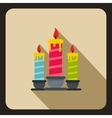 Birthday candles icon flat style vector image
