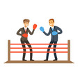 businessmen fighting on boxing ring business vector image
