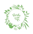 Fresh herbs store emblem Green round frame with vector image