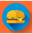 hamburger icon with long shadow Flat design style vector image