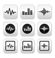 Soundwave music buttons set vector image