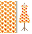 dress fabric with cookies hearts pattern vector image