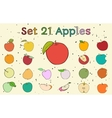 Big set of apples with vintage colors vector image