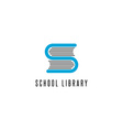 Book logo store library read club S letter icon vector image
