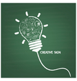 Creative light bulb handwriting on blackboard vector image