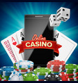 online casino banner realistic smart phone vector image