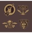 Rock and Roll color vintage emblems labels vector image
