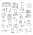 School and education sketch icons vector image