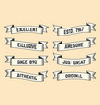 set of trendy vintage ribbons banners vector image