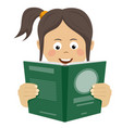 teenager girl reading interesting book vector image