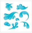 Splash of Blue Water Drops set Liquid icons vector image