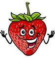 funny strawberry fruit cartoon vector image vector image