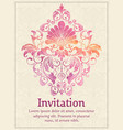 invitation card with watercolor damask element on vector image