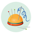 pincushion with needles and pins or thimbles vector image