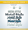 Set of Various Metallic Graphic Styles for Design vector image