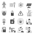 Energy power black icons set vector image