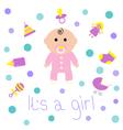 Baby girl shower card Bottle horse rattle pacifier vector image