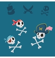 funny pirates sculls set vector image