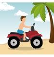 Man drive atv on beach vector image