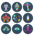 space stars flat spaceships aliens and astronauts vector image