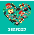 Seafood Japanese cuisine heart poster vector image