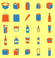 Packaging color icons on yellow background vector image