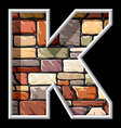 stone letter K vector image vector image
