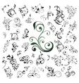 set of floral elements vector image