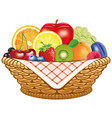 basket fresh fruit apple lemon apricot berries vector image