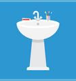 ceramic washbasin in the bathroom vector image