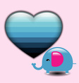 Elephant in love on Valentines Day vector image